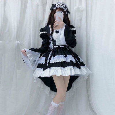 Court Maid Lace Trim Bow Princess Lolita Kawaii Dress Mp006100 Black / M