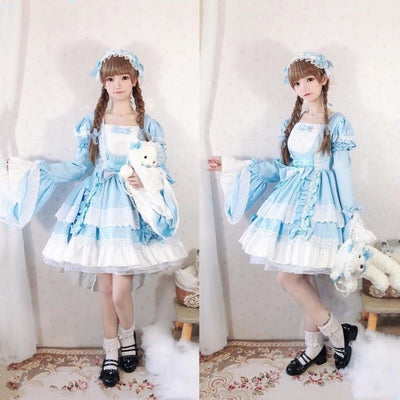 Court Maid Lace Trim Bow Princess Lolita Kawaii Dress Mp006100 Sky Blue / M