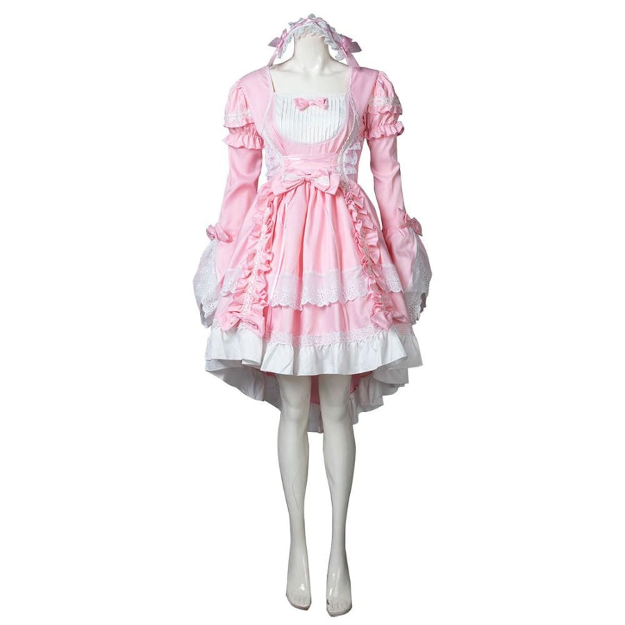 Court Maid Lace Trim Bow Princess Lolita Kawaii Dress Mp006100 Pink / M