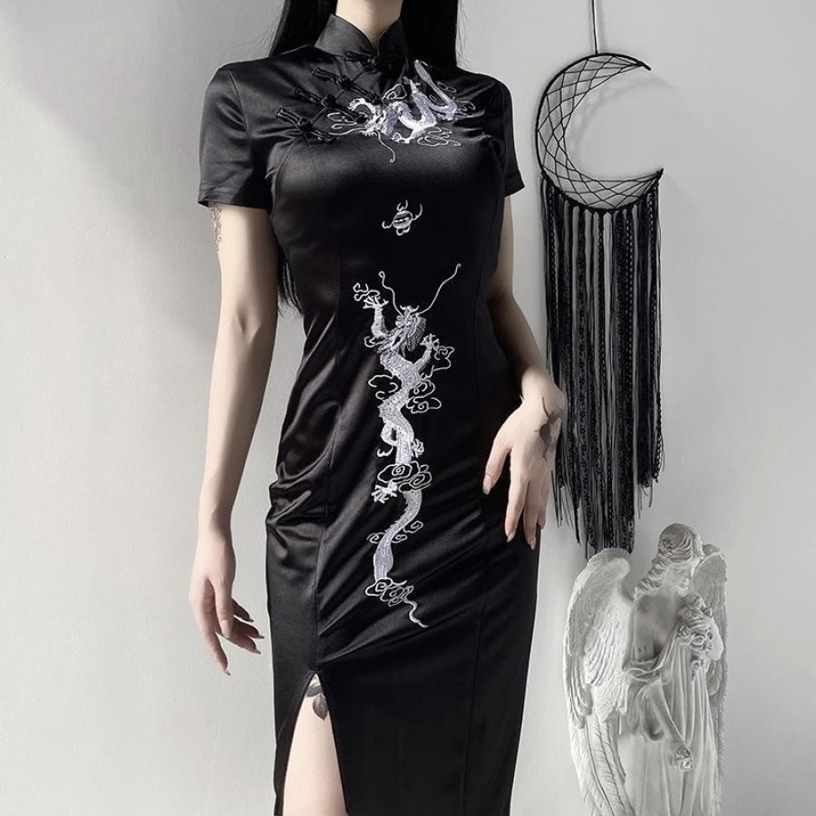 Dragon Embroidery Vintage Cheongsam Split Slim Dress J20043