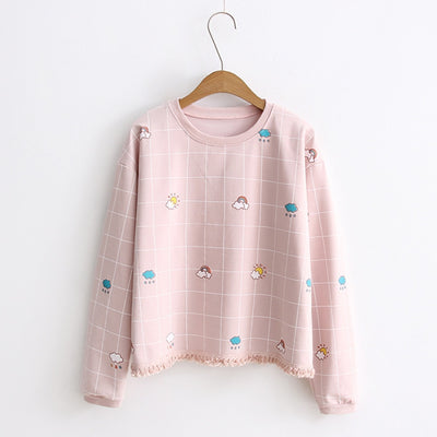 Emotion Sun Cloud Rainbow Trimmings Plaid Sweatshirt Pink / One Size