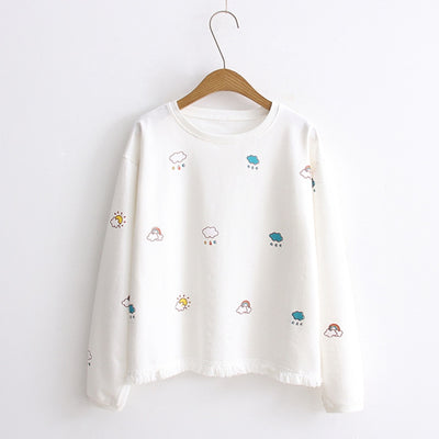 Emotion Sun Cloud Rainbow Trimmings Plaid Sweatshirt White / One Size