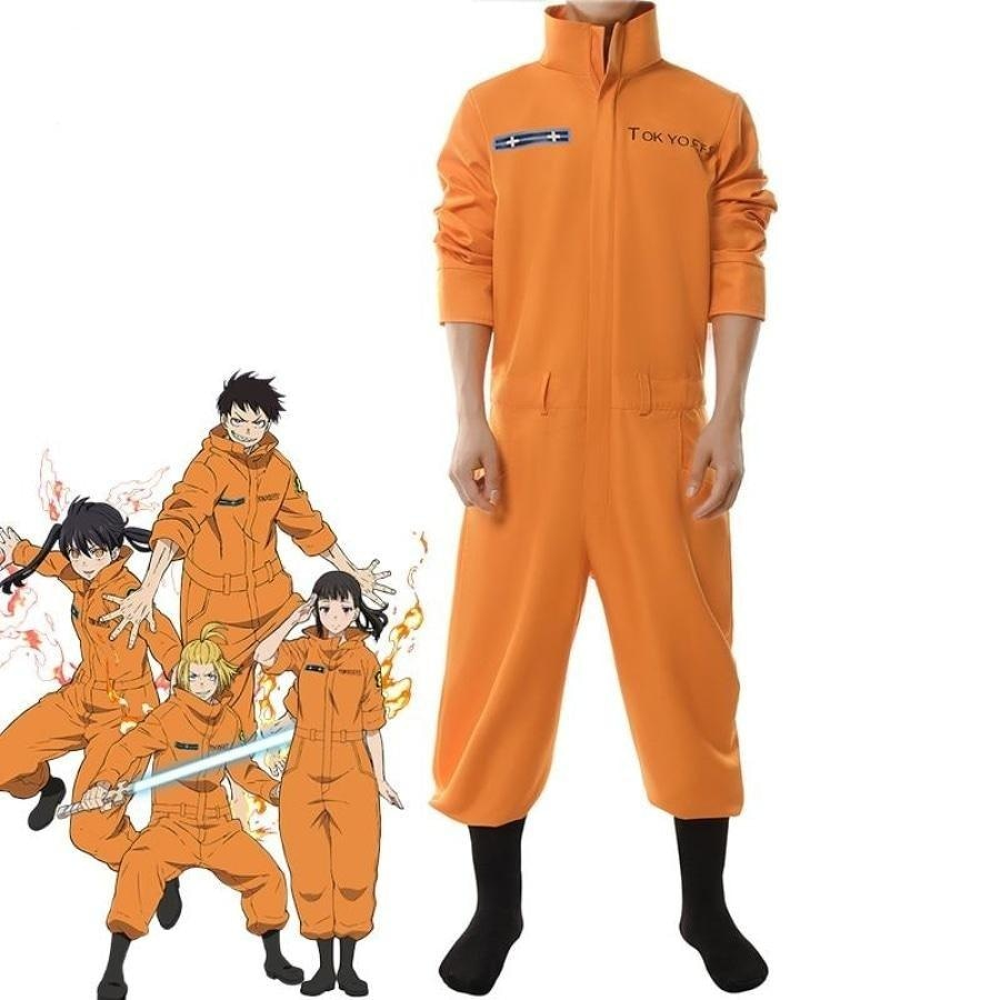 Rolecos Fire Force Cosplay Costume Shinra Kusakabe Akiratu Oubi Maki Oze Jumpsuit Enen No Shouboutai