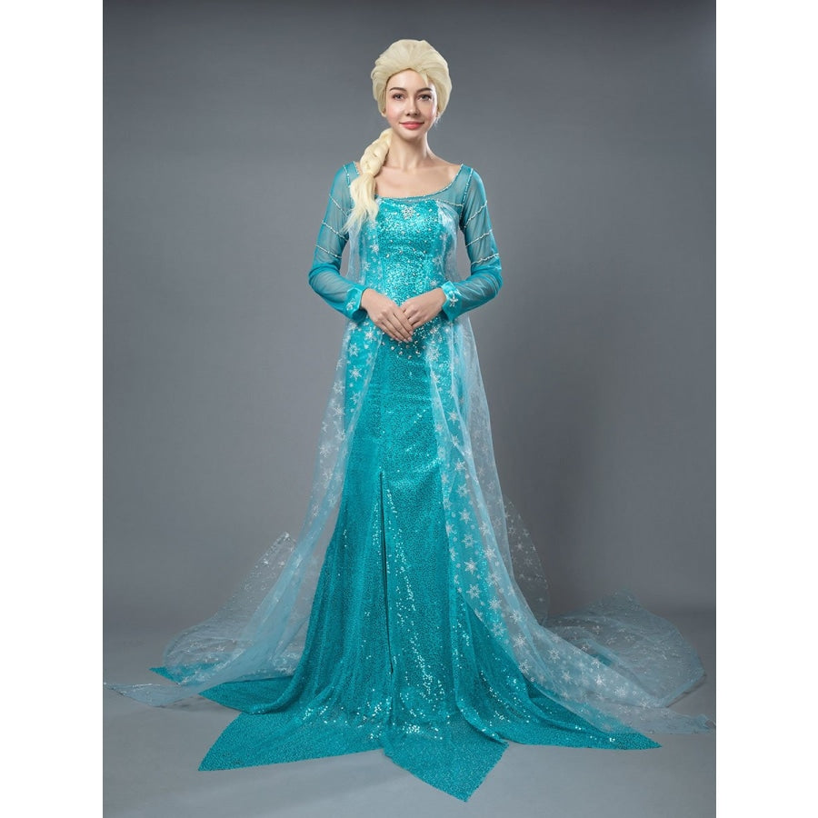 Frozen The Snow Queen Elsa Cosplay Costumes Eternal Winter Teal Dress Mp004791 Xs / Female