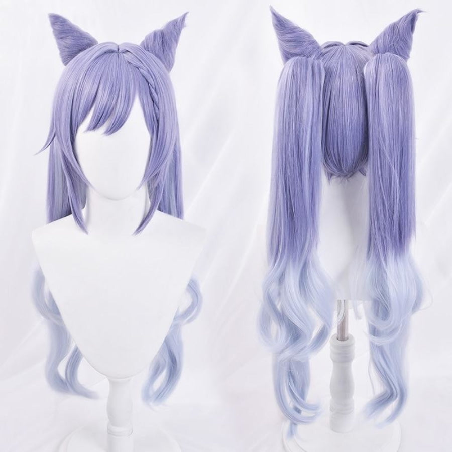 Genshin Impact Keqing Cosplay Wig Gradient Purple Long Curly Ponytails Hair C00003 Wigs