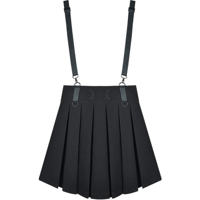 Ghost Girl Darkness Punk Shoulder Strap Pleated Skirt J40390 Black / S