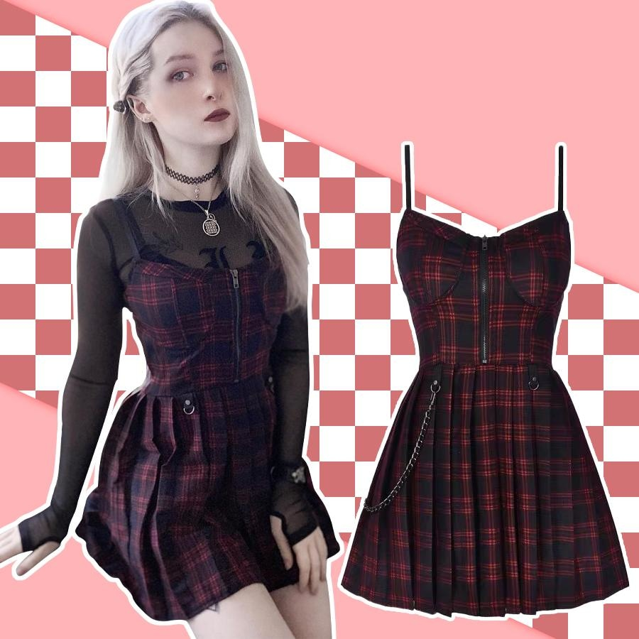 Gothic Grunge Spaghetti Strap Plaid Mini Dress Mp005895 Dress