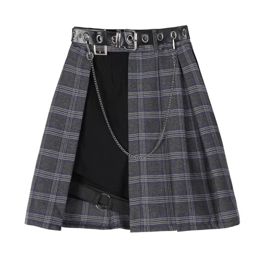 Gothic Irregular High Waist Plaid Skirt Mp006149 Dress