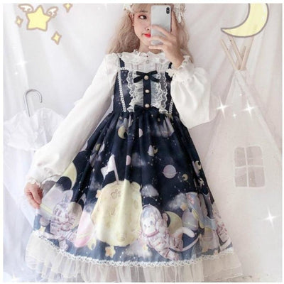 Gradient Sky Print Ruffle Lolita Kawaii Dress Mp006257