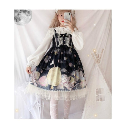 Gradient Sky Print Ruffle Lolita Kawaii Dress Mp006257 Black / One Size