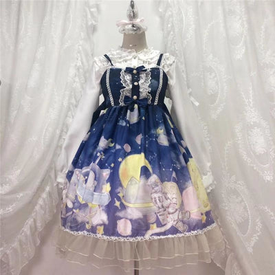 Gradient Sky Print Ruffle Lolita Kawaii Dress Mp006257 Dark Blue / One Size