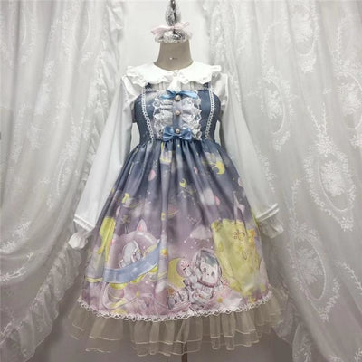 Gradient Sky Print Ruffle Lolita Kawaii Dress Mp006257 Light Blue / One Size