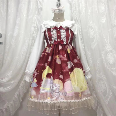 Gradient Sky Print Ruffle Lolita Kawaii Dress Mp006257 Red / One Size