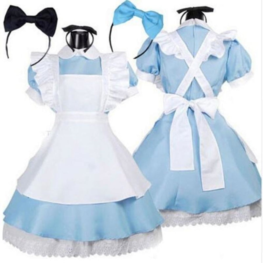 Halloween Women Adult Anime Alice In Wonderland Blue Party Dress Dream Sissy Maid Lolita Cosplay