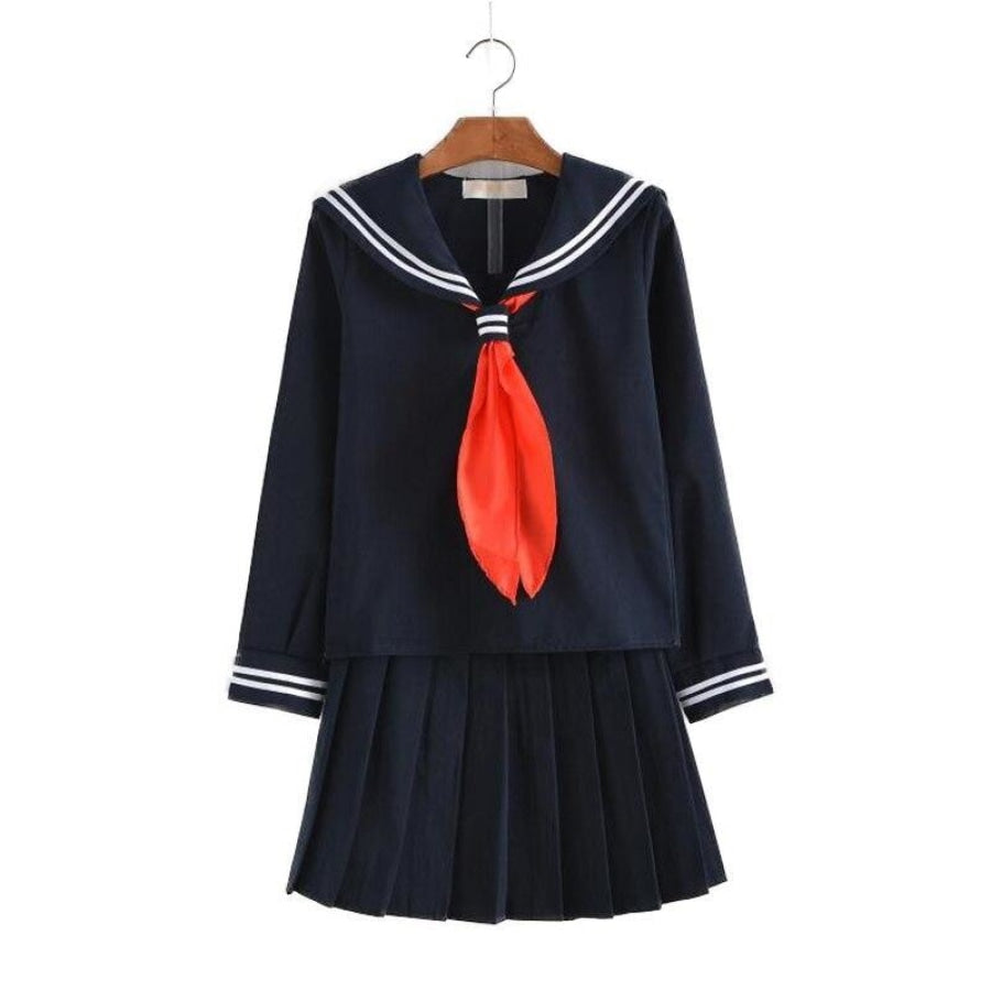 Jk School Uniform Student Sailor Black White Suit Mp006021 Navy / S