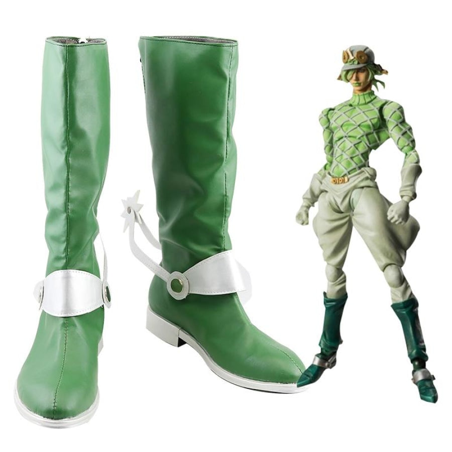 Jojos Bizarre Adventure Cosplay Shoes Guido Mista Green High Boot 38 / Male & Boots