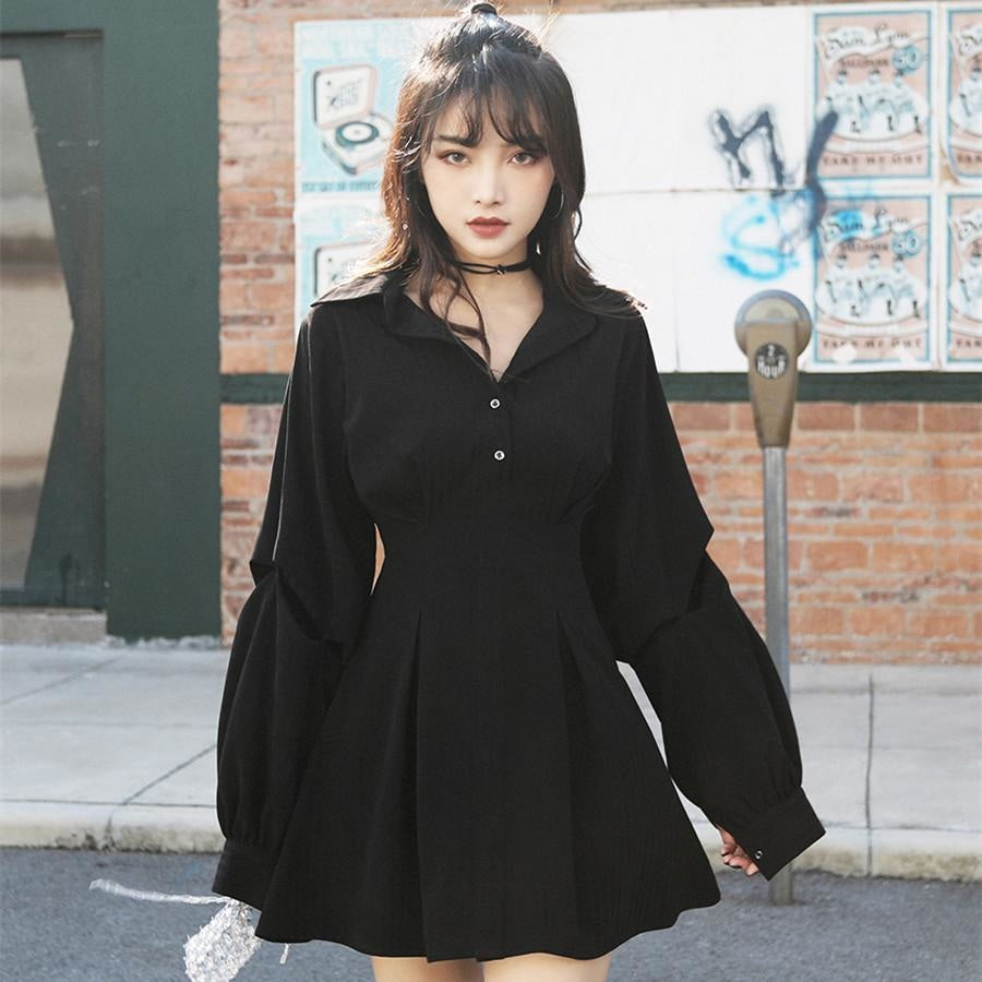 Kawaii Black High Waist Shirt Dress Mp006122 Xs Dress