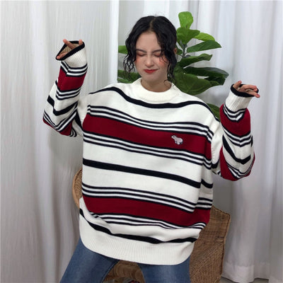 Loose Striped Polar Bear Sweater Red / One Size Sweatshirt