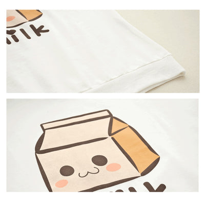 Milk Box Print Fake Two Piece Sweatshirt