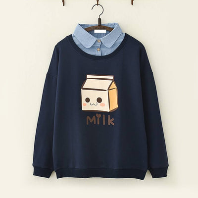 Milk Box Print Fake Two Piece Sweatshirt Navy / M