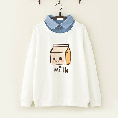 Milk Box Print Fake Two Piece Sweatshirt White / M
