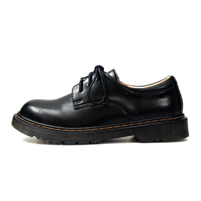 Mori Girl Oxfords Vintage Round Leather Shoes Black / 34 Canvas