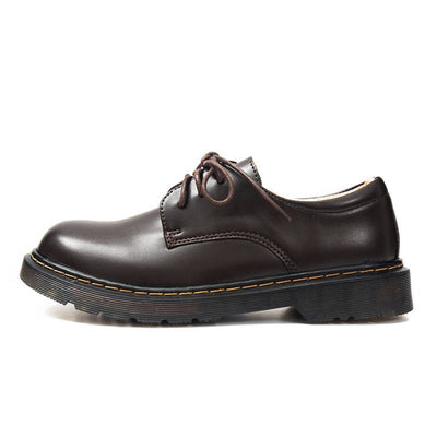 Mori Girl Oxfords Vintage Round Leather Shoes Brown / 34 Canvas