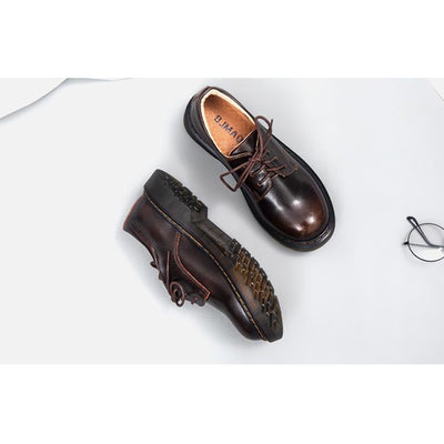Mori Girl Oxfords Vintage Round Leather Shoes Canvas