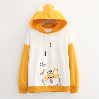 Puppy Print Color Block Ears Hoodie Blue / M Sweatshirt