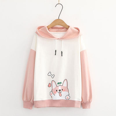 Puppy Print Color Block Ears Hoodie Pink / M Sweatshirt