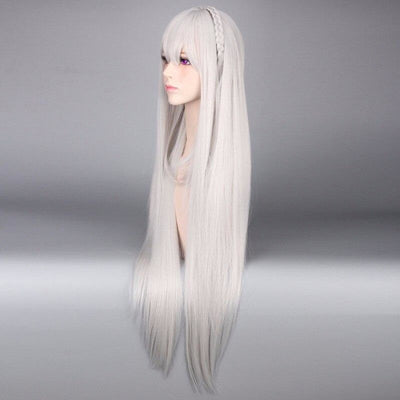Re:zero Starting Life In Another World Emilia Cosplay Wig Long Straight Hair Braided Mp005798 Wigs