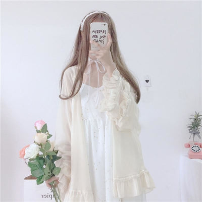 Star Dust Print Chiffon Strap Dress Ruffle Cardigan