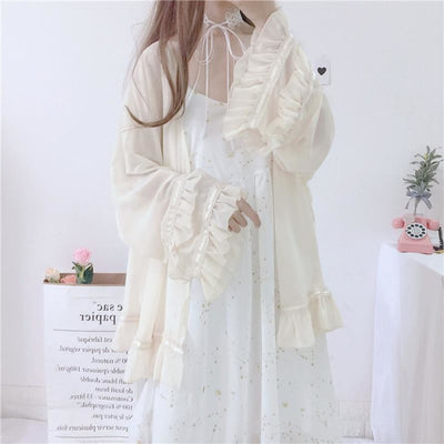 Star Dust Print Chiffon Strap Dress Ruffle Cardigan / Apricot One Size