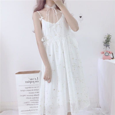 Star Dust Print Chiffon Strap Dress Ruffle Cardigan / White One Size