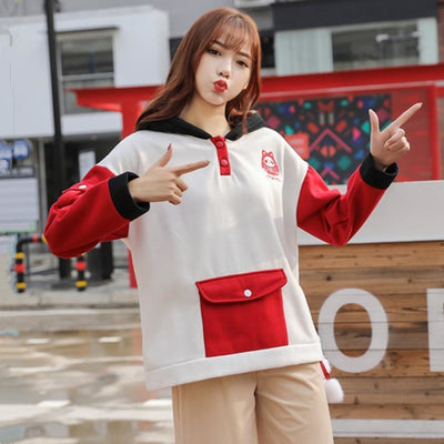 Tokyo Damour Tumbler Embroidery Button Pocket Ears Hoodie Color Block Sweatshirt