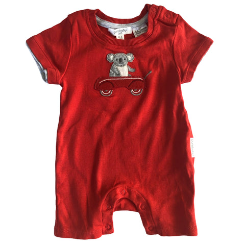 Boys Size 000 Purebaby romper red