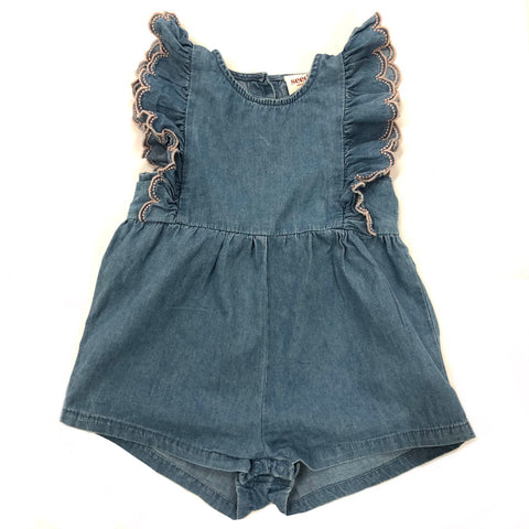 Girls Size 000 Seed chambray playsuit