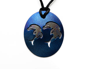 Personal Pendant - Double Dolphin Blue