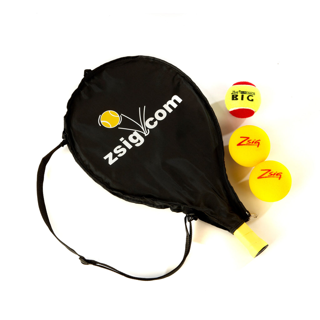 Mini Tennis | Red Stage | 19in Racket, Headcover & 3 Balls | Black