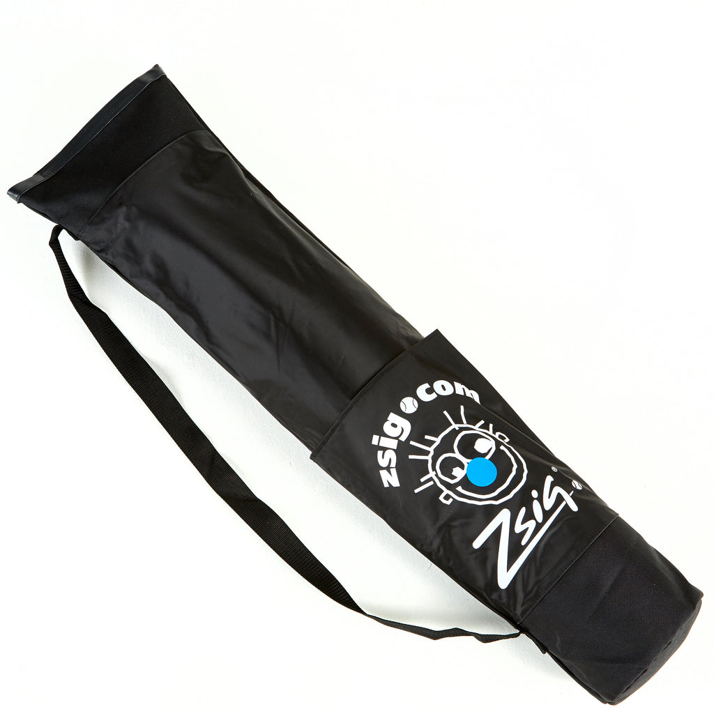 Zsig's Classic 3m Badminton Net shoulder carry bag, showing pocket side for storing the folded net