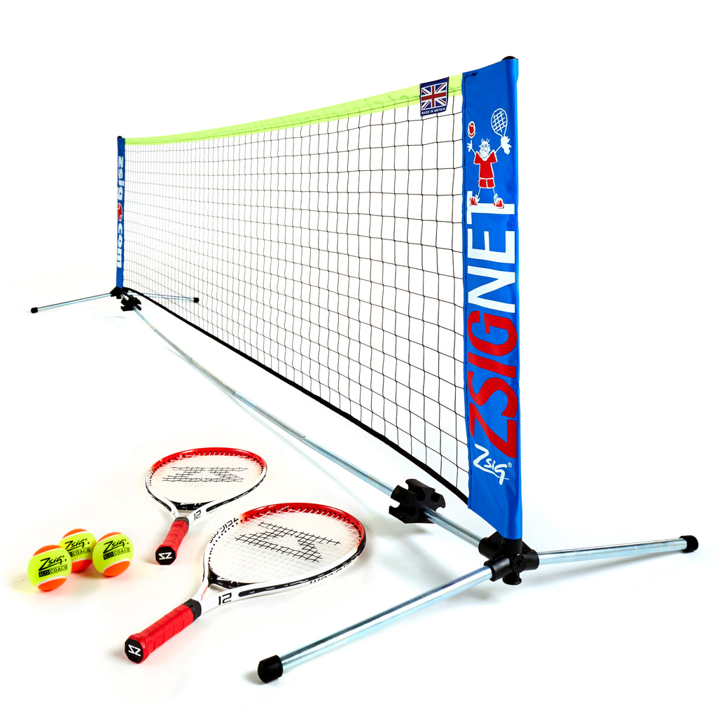 Zsig's Garden 3m Mini Tennis Set with 2 x 21 inch rackets and 3 x SLOcoach Orange Mini Tennis Balls