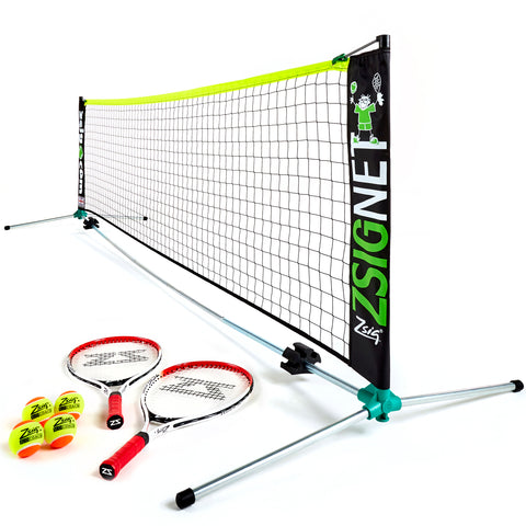 Zsig Classic 3m Mini Tennis Set with 2 x 21 inch rackets and 4 x SLOcoach Orange Balls