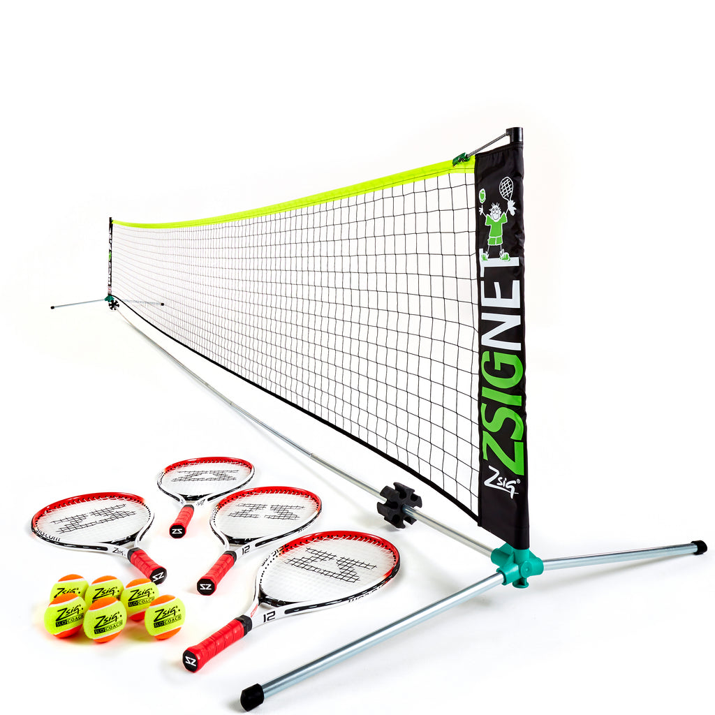 Zsig 6m Classic Mini Tennis Set with 6 x SLOcoach Orange Balls and 4 x 21 inch Mini Tennis Rackets
