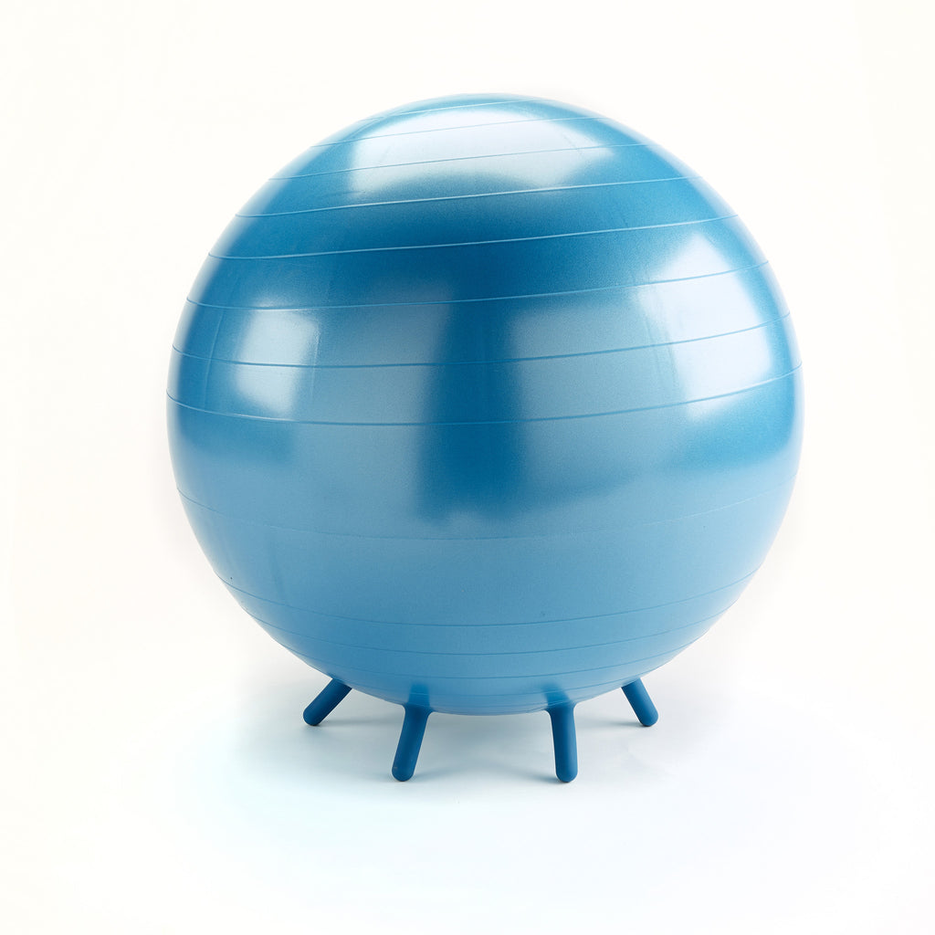Fitball with feet. Fitness, balance & stability ball chair, with cleverly designed little feet which prevent the ball rolling away. Blue.