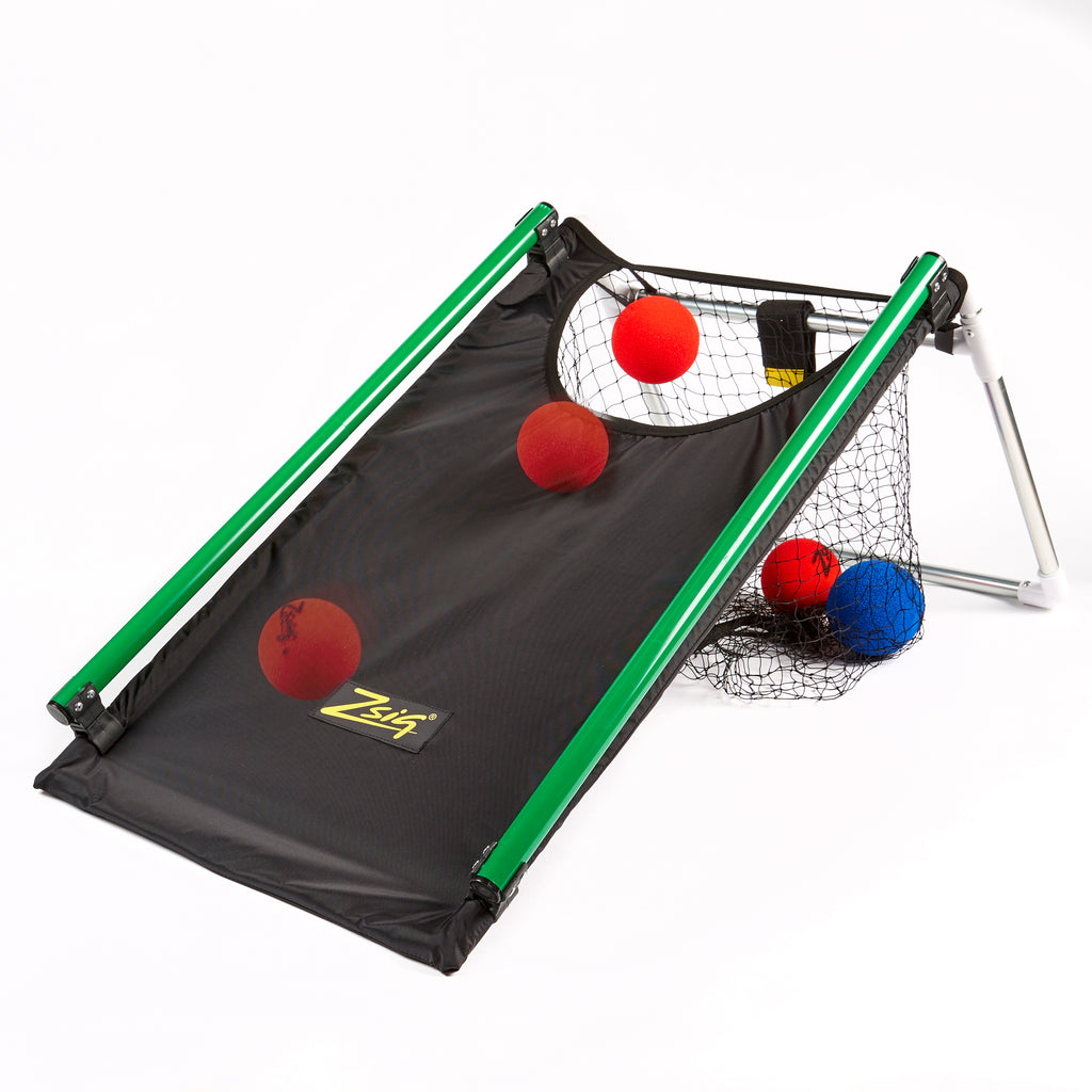 Zsig Ball Rollling Ramp showing optional clip-on side rails