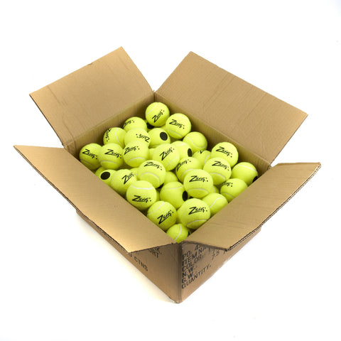 Bulk buy 10 dozen (120) yellow coaching tennis balls with Black Dot cosmetics