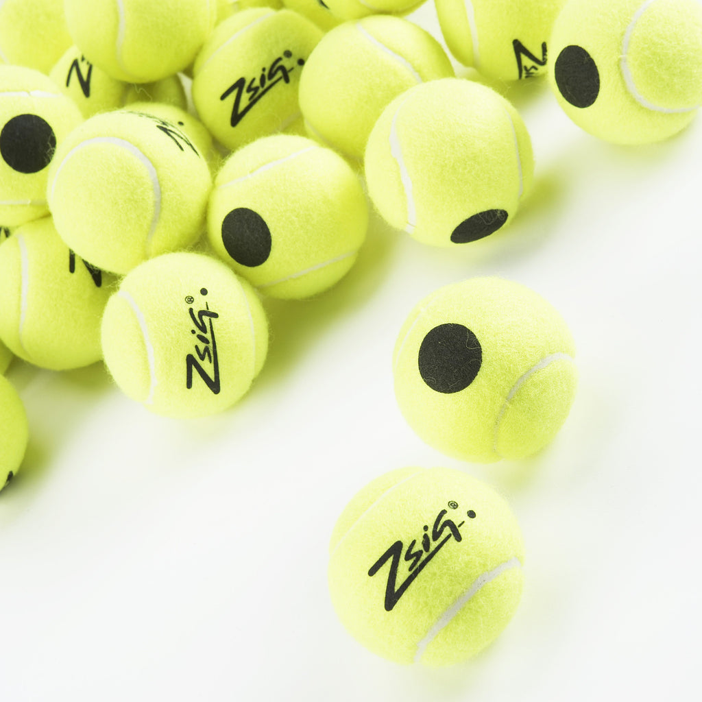 Black Dot tennis balls for training and coaching tennis. Yellow felt, with a black dot for identification