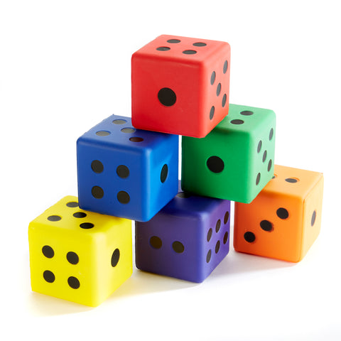 Set of 6 soft coloured dice from Zsig