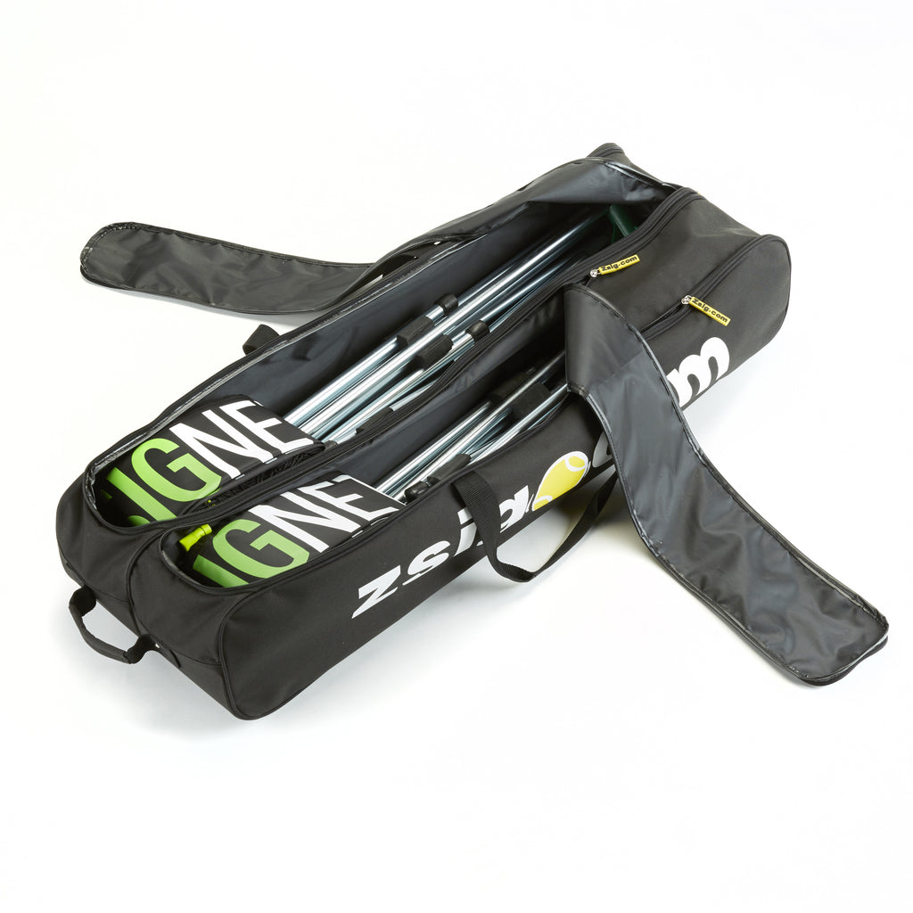 New holdall for 2 Zsig Mini Tennis Nets showing separate compartments inside