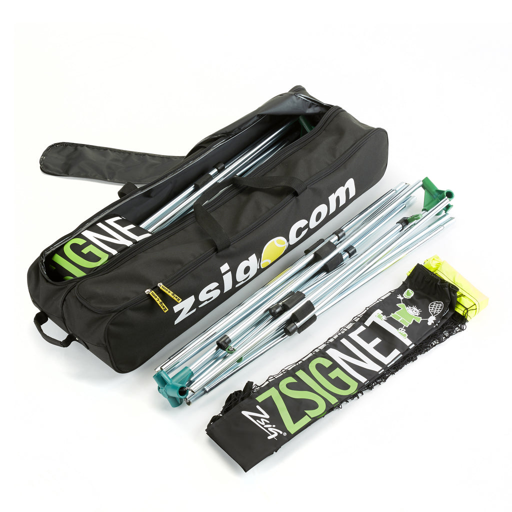 New Zsig holdall for a pair of 6m Mini Tennis Nets, showing inside compartments & size compared to a folded frame
